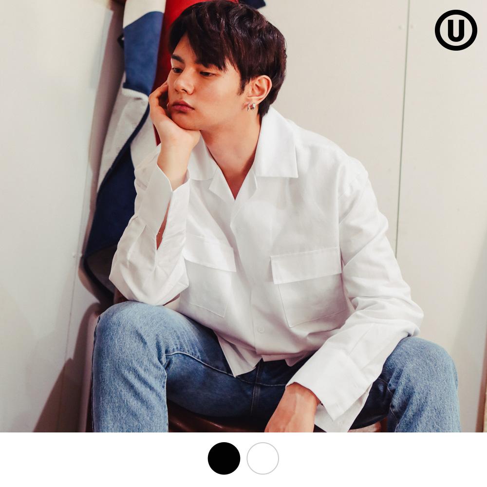 [언더베이스] 오버핏 오픈카라 린넨 셔츠 화이트 NJLS9022