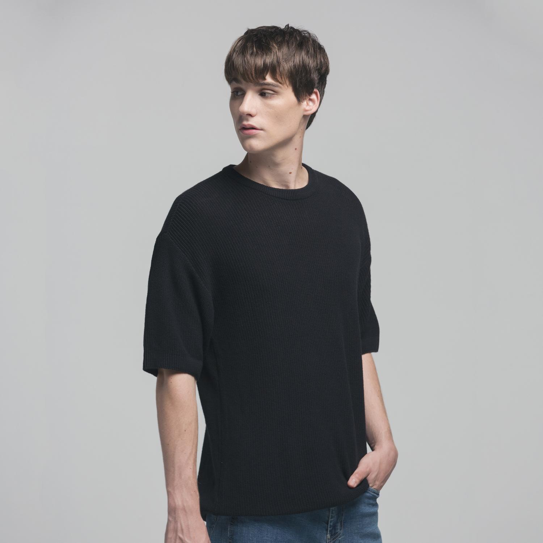 소프트코튼 오버핏 와플 하프 니트 티셔츠 BLACK