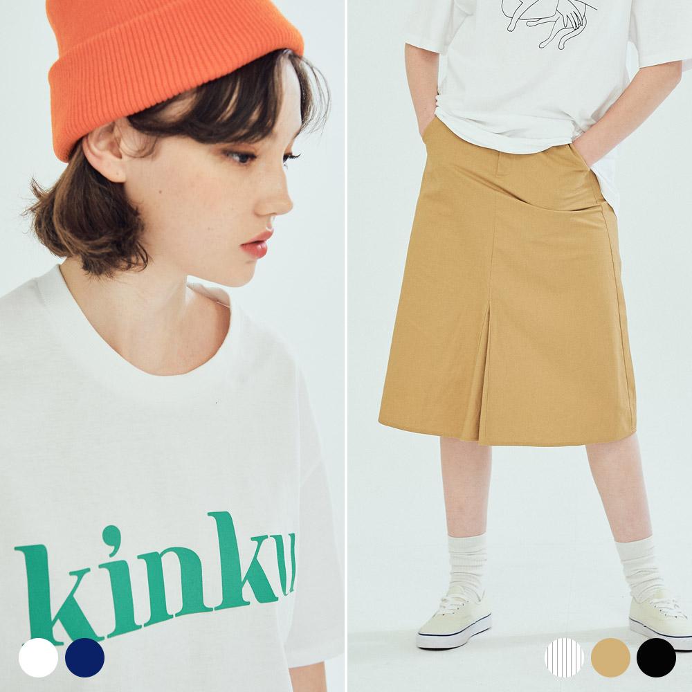 킨쿠 빅로고 티셔츠 에이롱 스커트 (5COLOR)