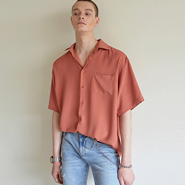 WINDSOR COLLAR SHORT-SLEEVE SH_DARK ORANGE