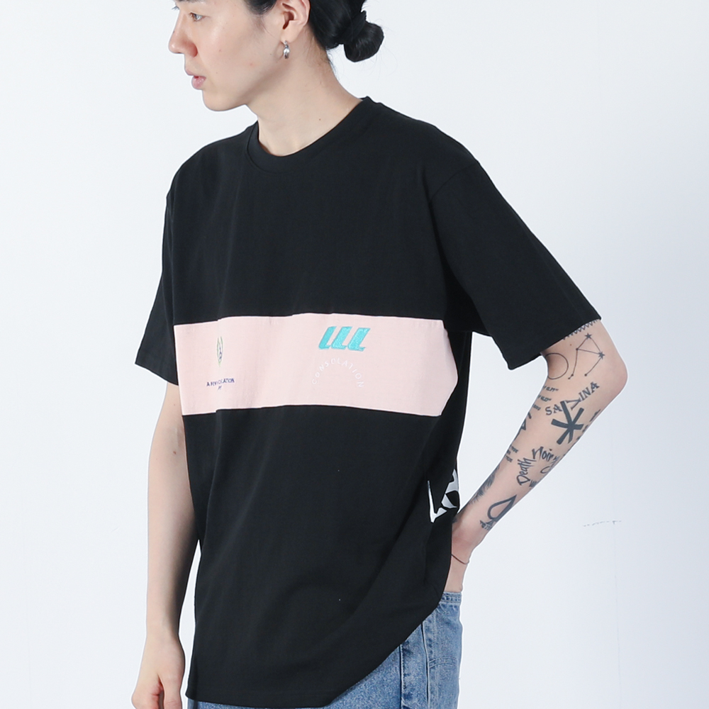 배색 월계수로고 티셔츠 (블랙)