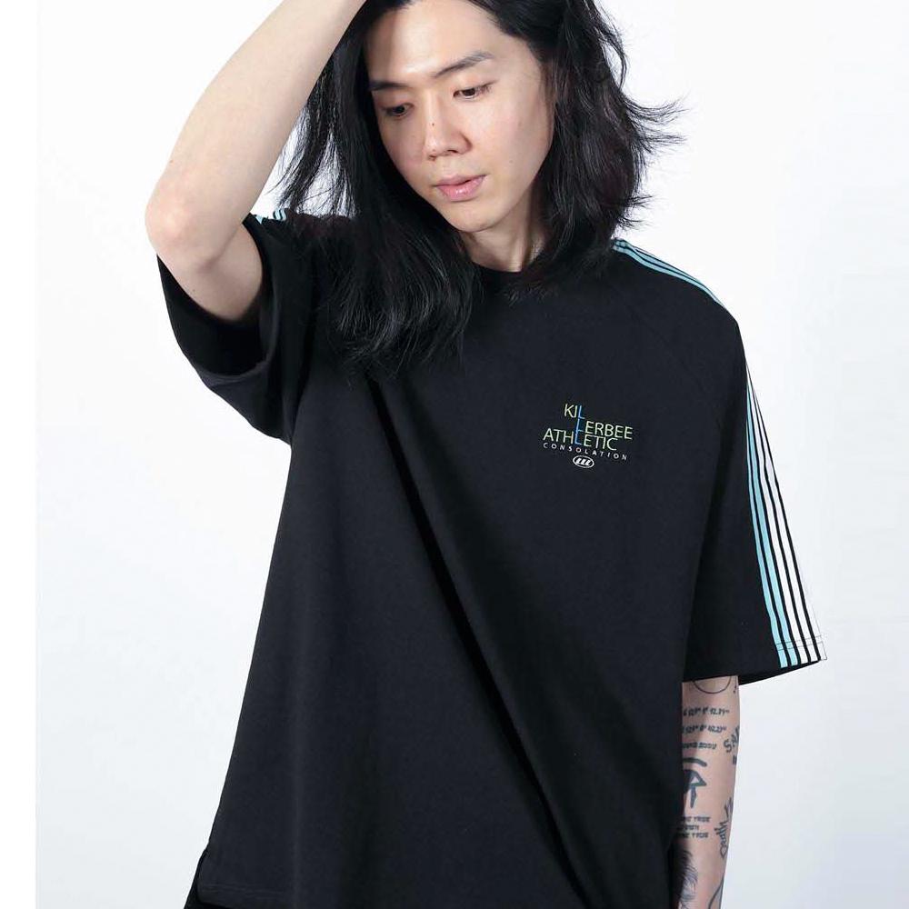 킬러비 로고 나그랑 스트라이프 티셔츠 (블랙)