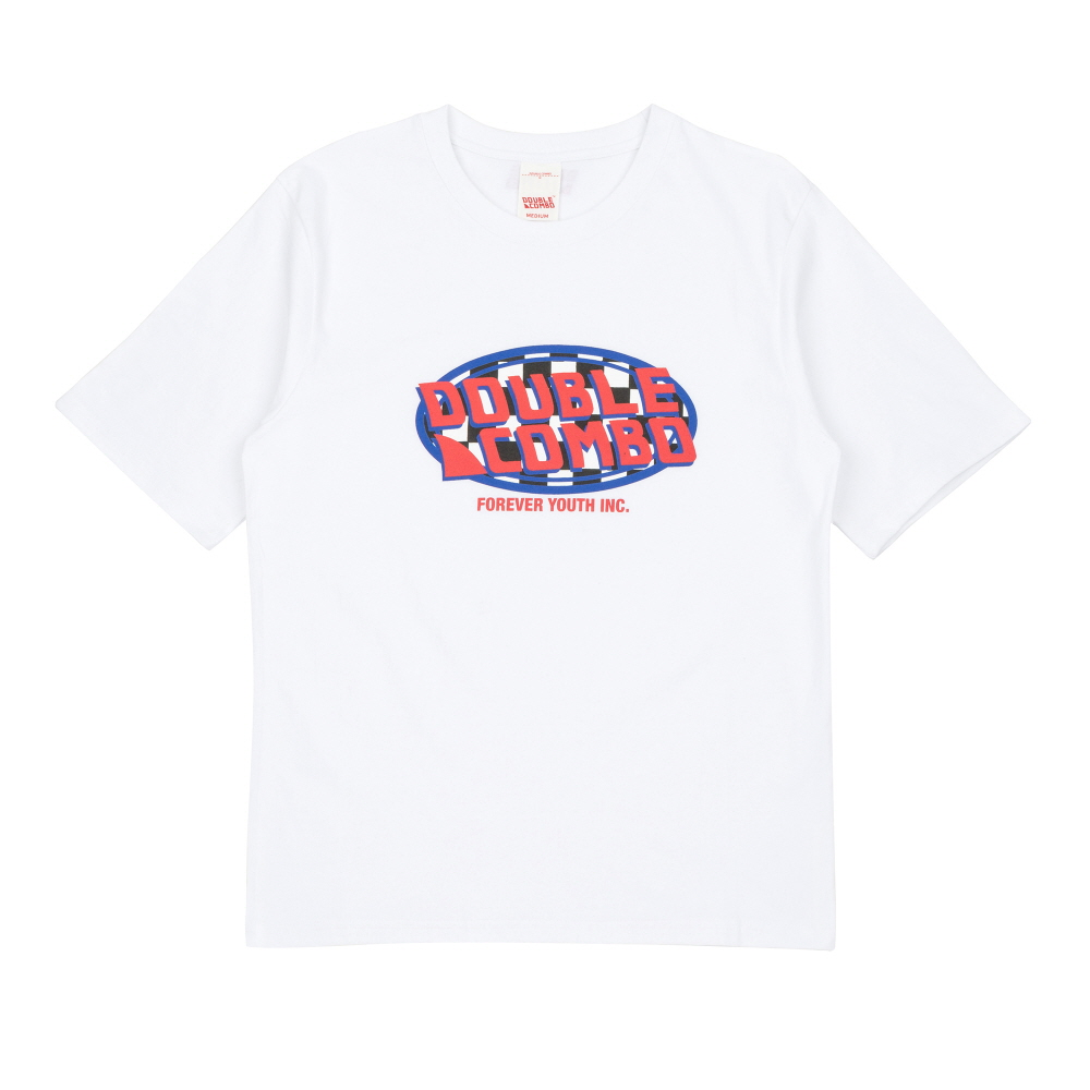 [더블콤보] DOUBLECOMBO - CHECKER OVAL LOGO TEE (WHITE) 반팔 반팔티 티셔츠