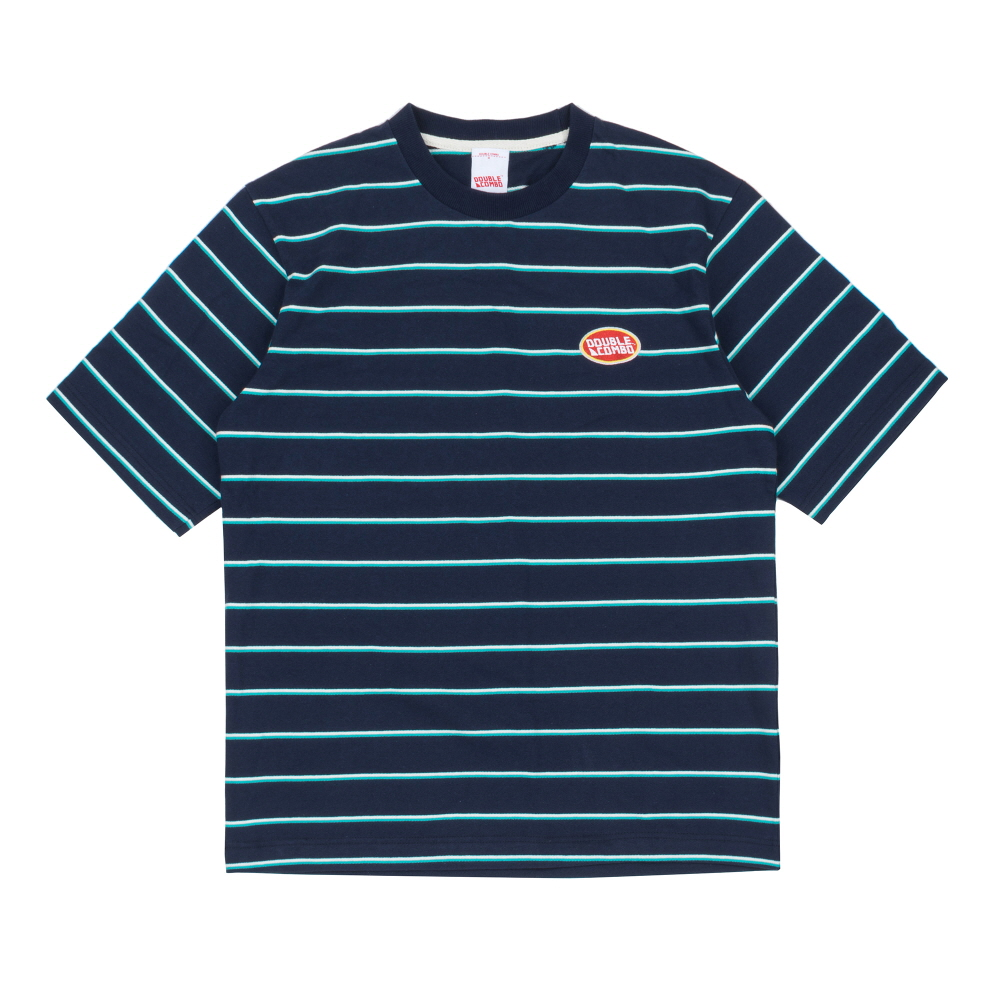[더블콤보] DOUBLECOMBO - PIN STRIPE BOARDER TEE (NAVY) 반팔 반팔티 단가라