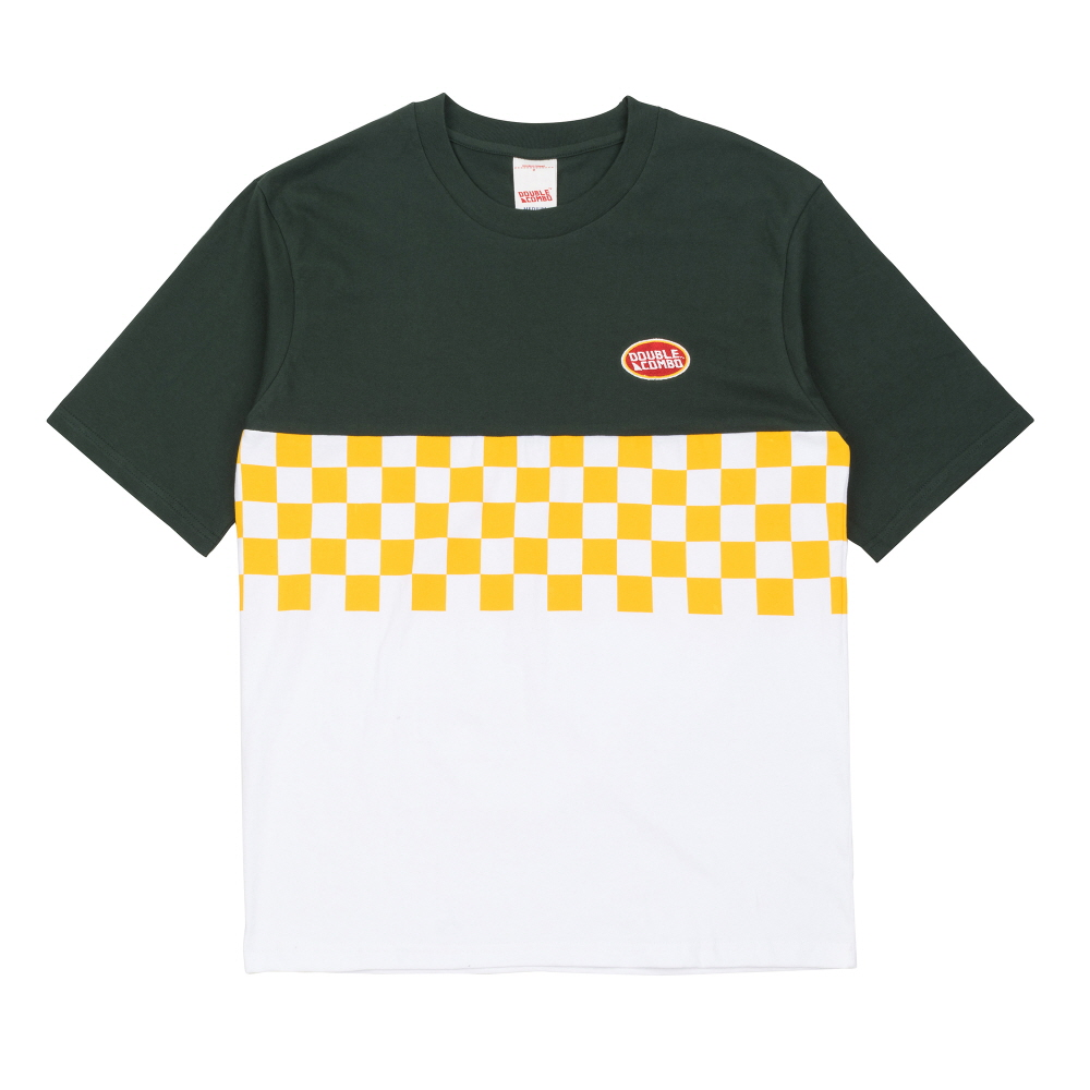 [더블콤보] DOUBLECOMBO - COLOR BLOCK CHECKER TEE (GREEN) 반팔 반팔티 티셔츠