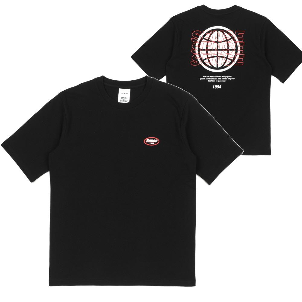 [센스스튜디오] BACK GLOBE T-SHIRT (BLACK) 반팔 반팔티 티셔츠