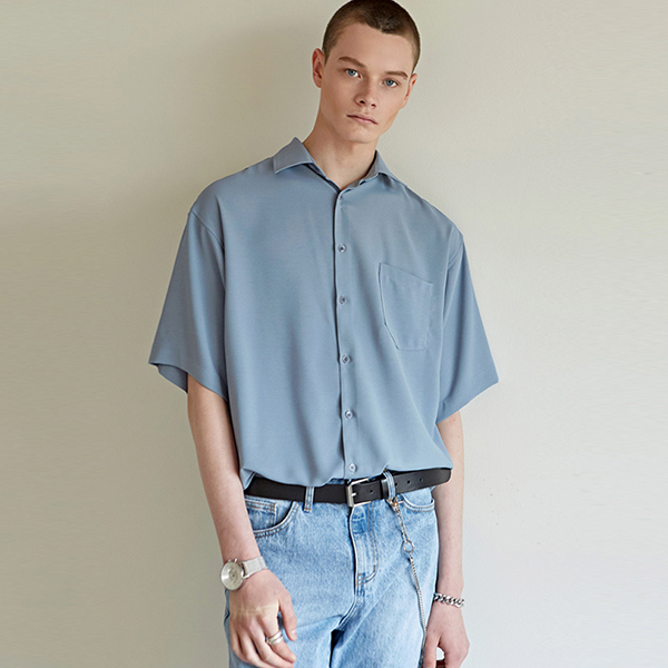 WINDSOR COLLAR SHORT-SLEEVE SH_SKY BLUE