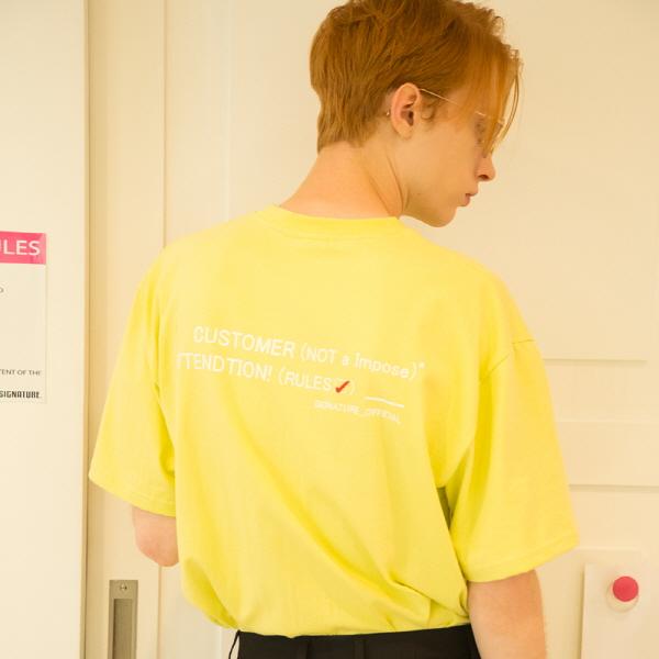 유니섹스 커스터머 티셔츠 [형광라임] (16수)