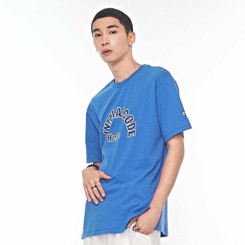헬로 프린팅 티셔츠 블루