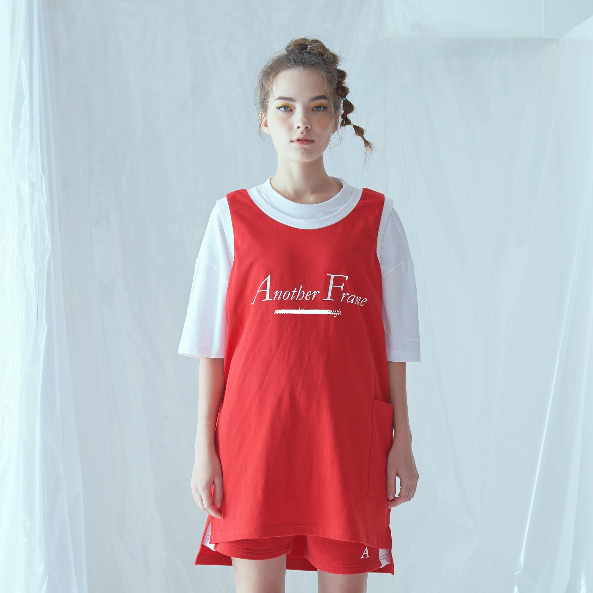 [어나더프레임] BASIC LOGO POCKET SLEEVELESS (RED) 나시 나시티 티셔츠