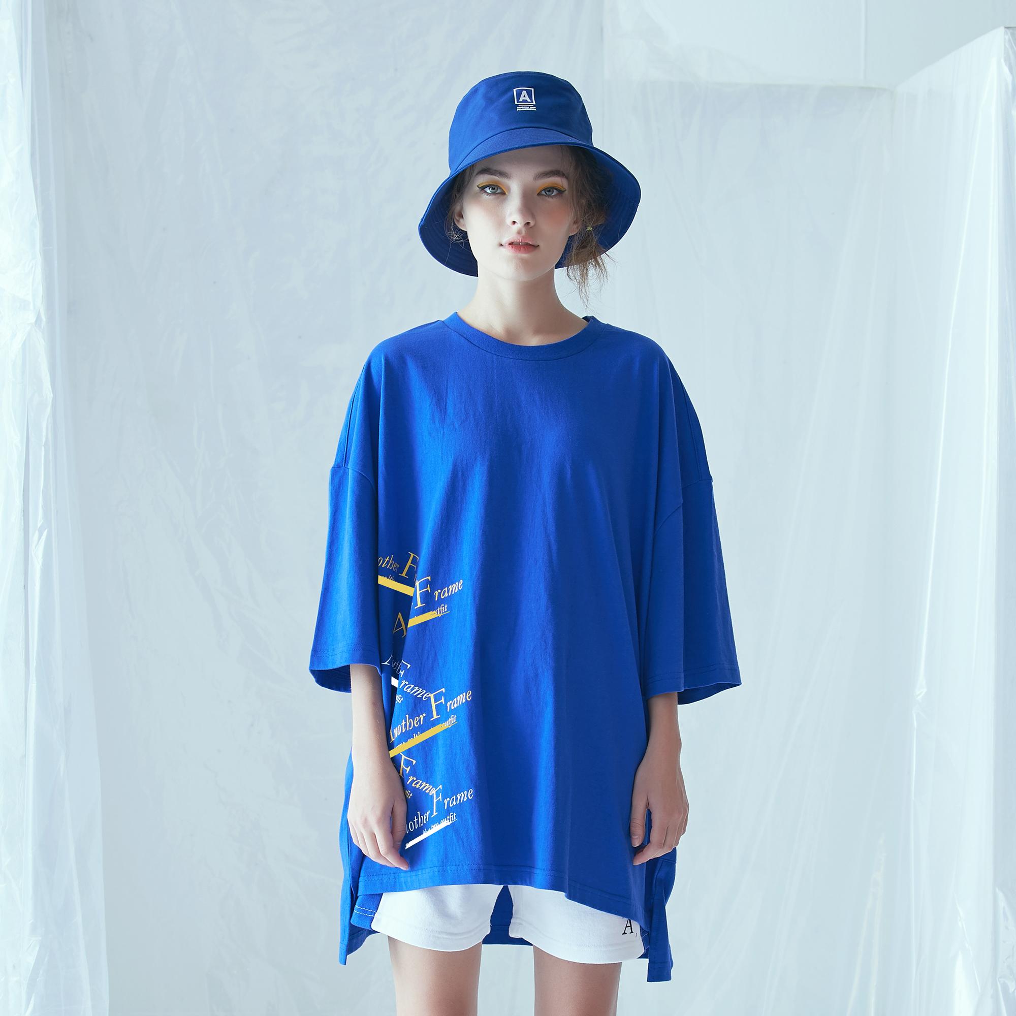 [어나더프레임] SIDE POCKET BOX T-SHIRT (BLUE) 반팔티 반팔 티셔츠