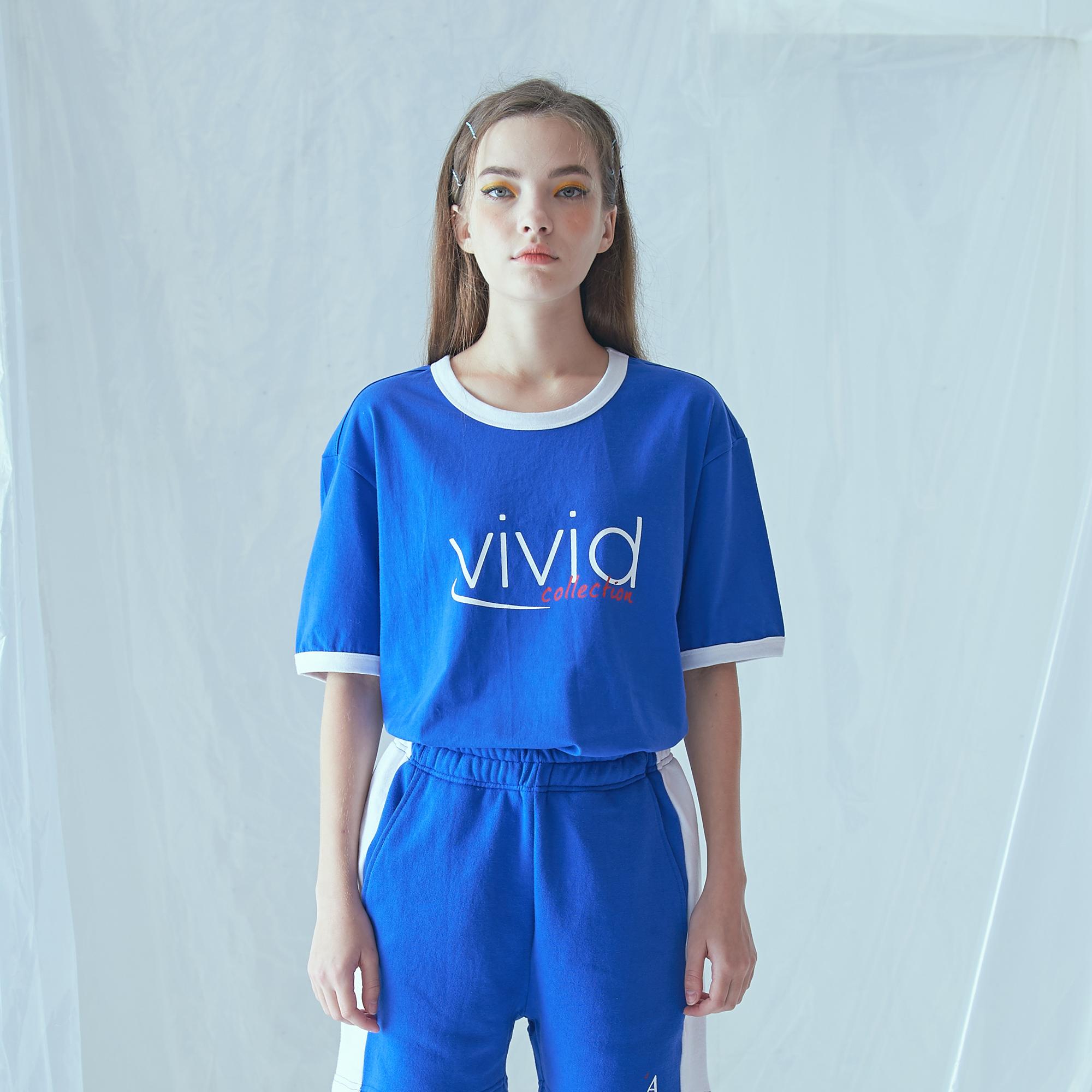 [어나더프레임] VIVID RINGER T-SHIRT (BLUE) 반팔티 반팔 티셔츠