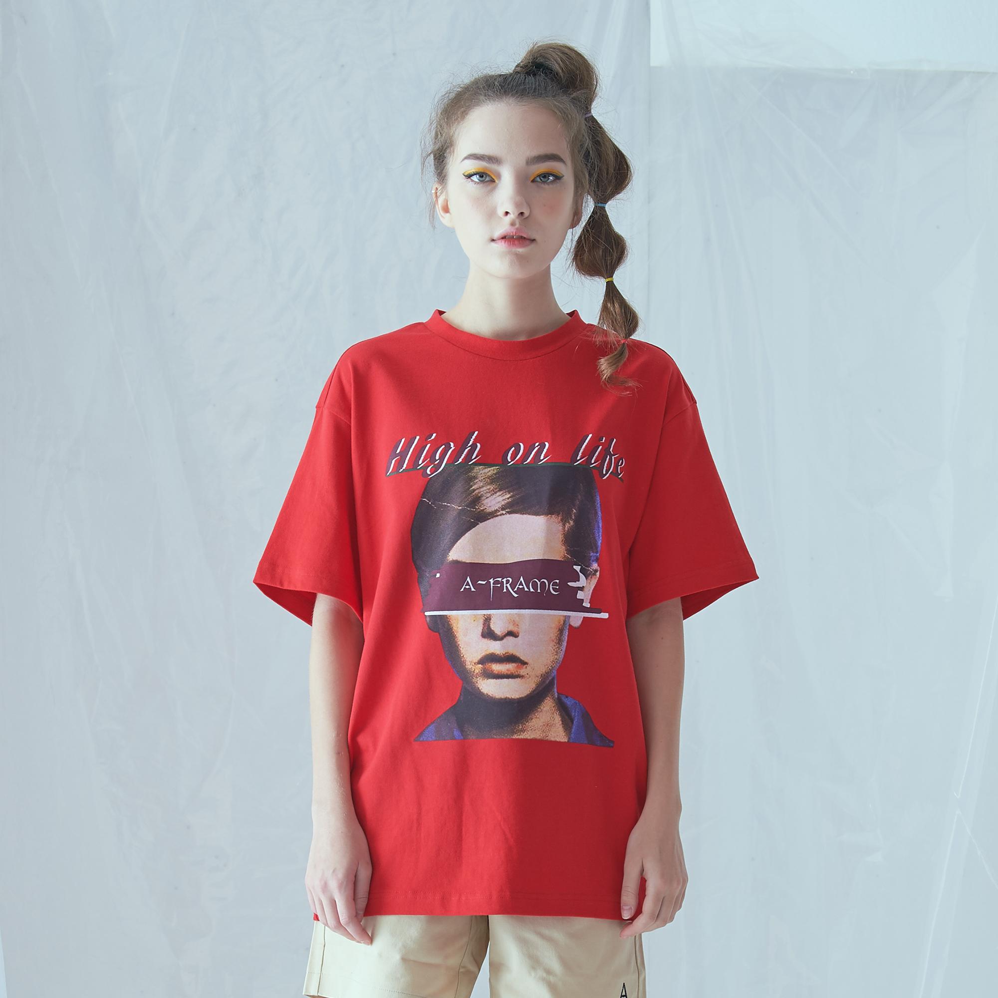 [어나더프레임] BIG FACE AF T-SHIRT (RED) 반팔 반팔티 티셔츠