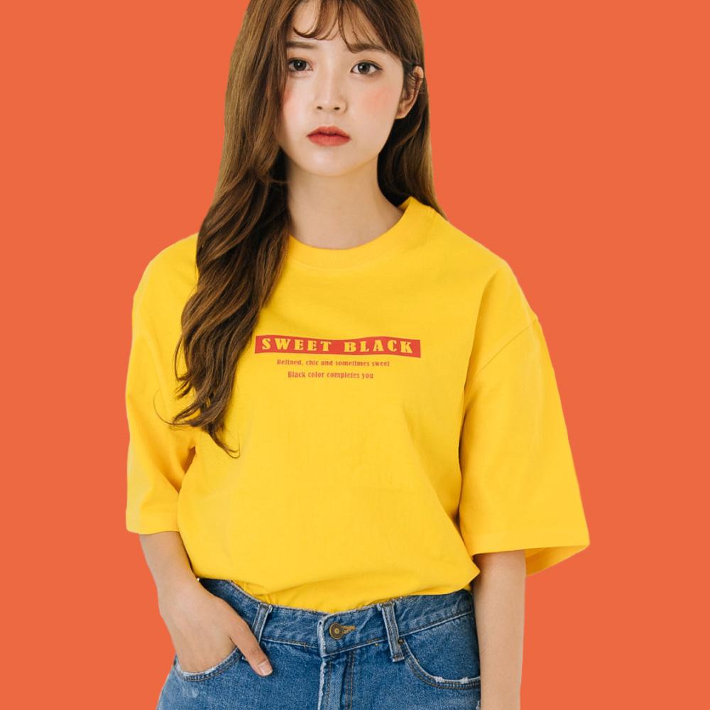 스티커 시그니쳐 프린트#2 티셔츠_옐로우