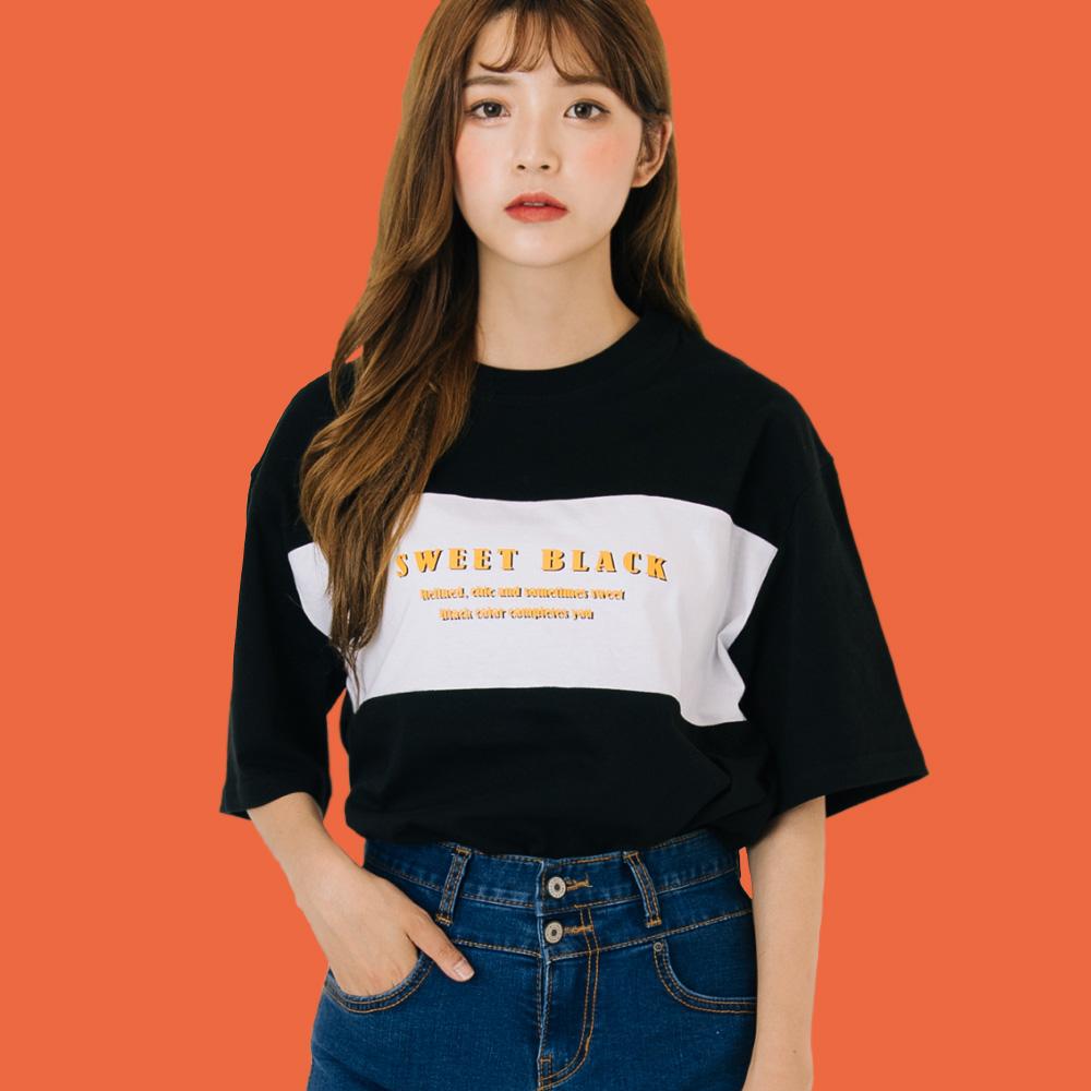 클래식 컬러콤보 티셔츠_블랙
