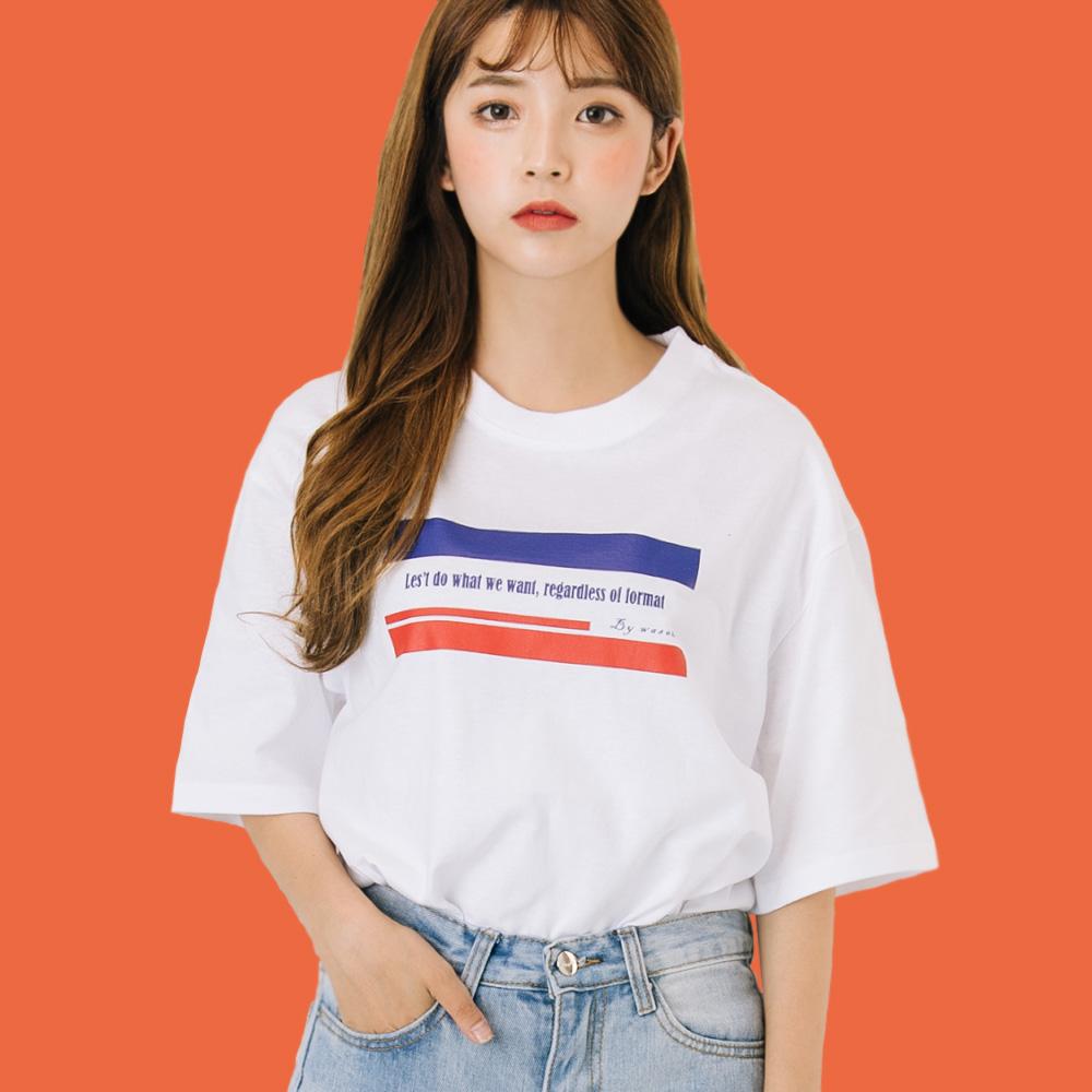프렌치 감성 프린트 티셔츠_화이트