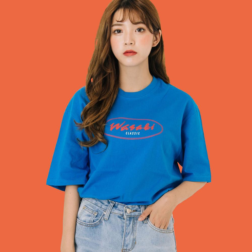 클래식 라운드로고 프린트 티셔츠_블루