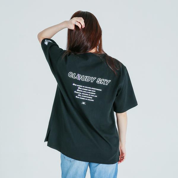 [EASYCLO] 16수_EAC CLOUDY SKY_프린팅 반팔(블랙)_남녀공용