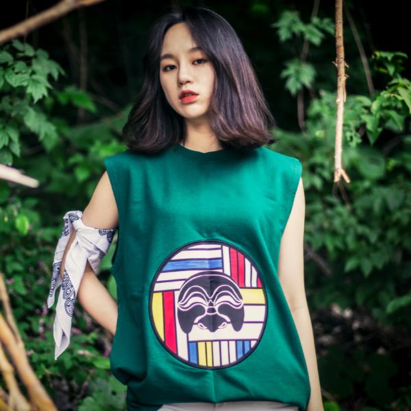 {C} (S/S) AsiHa 시그니처 로고 민소매 Green