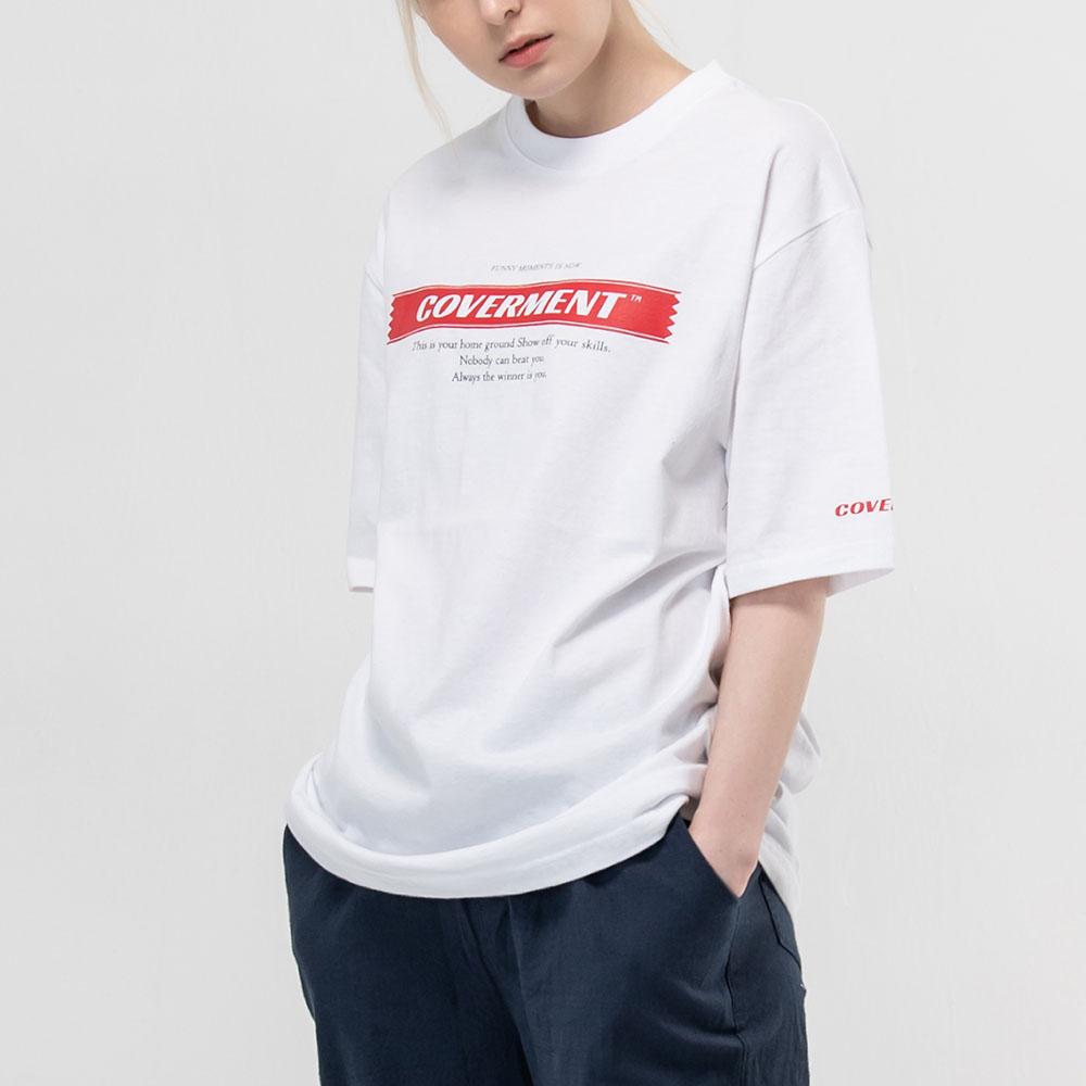 시그니쳐 메인 로고 프린트 티셔츠_화이트