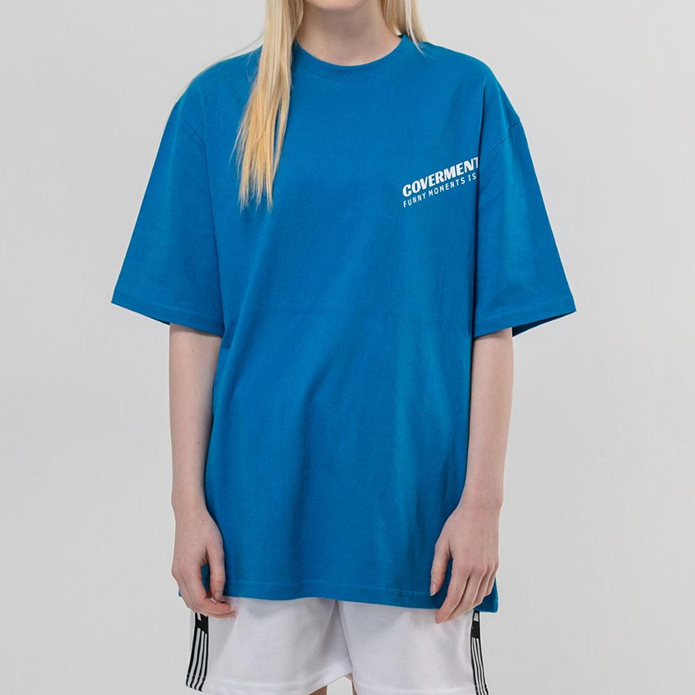 사선 로고 프린트 티셔츠_블루