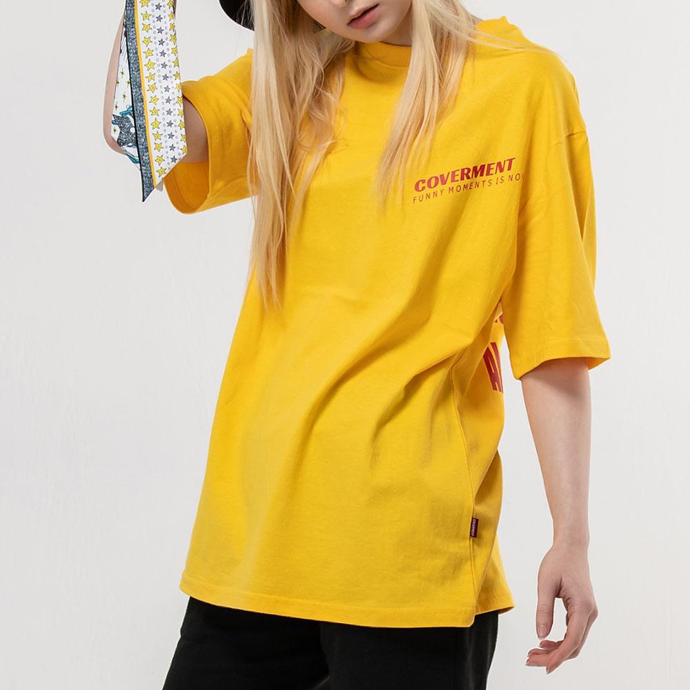 사선 로고 프린트 티셔츠_옐로우