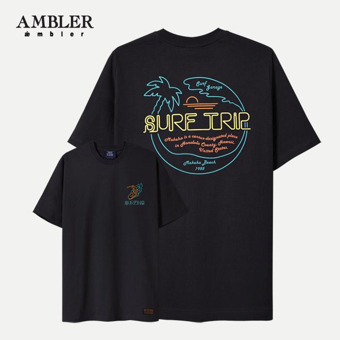 [엠블러]AMBLER 신상 자수 반팔 티셔츠 AS526-블랙