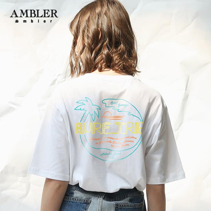 [엠블러]AMBLER 신상 자수 반팔 티셔츠 AS526-화이트