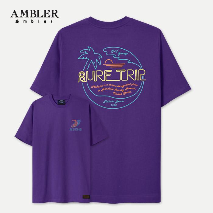 [엠블러]AMBLER 신상 자수 반팔 티셔츠 AS526-퍼플