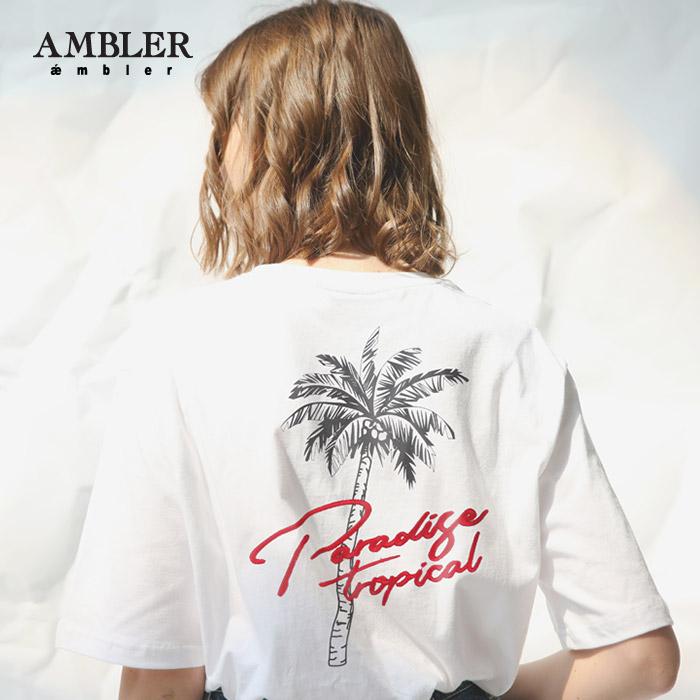 [엠블러]AMBLER 신상 자수 반팔 티셔츠 AS527-화이트