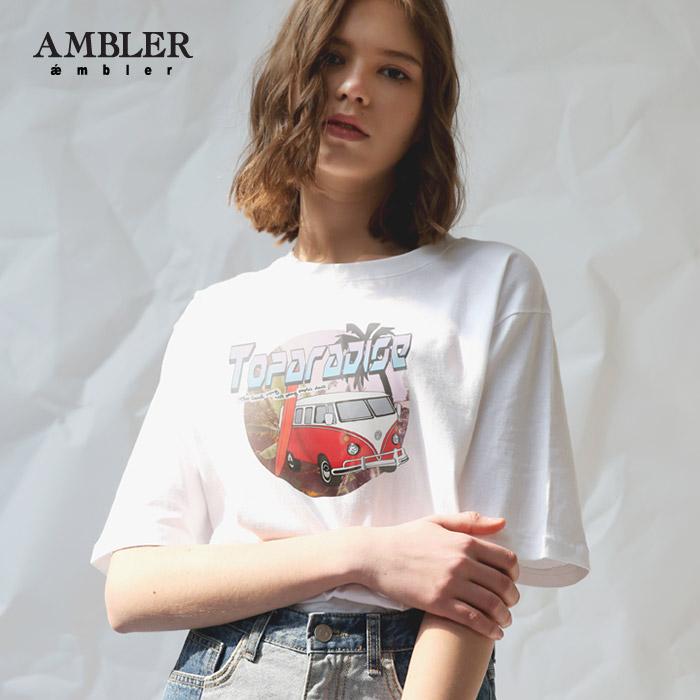 [엠블러]AMBLER 신상 자수 반팔 티셔츠 AS528-화이트