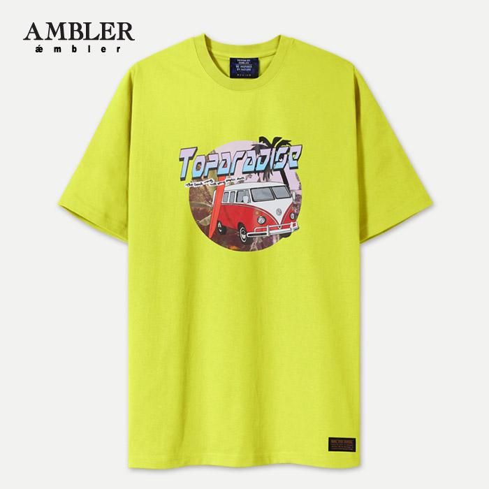 [엠블러]AMBLER 신상 자수 반팔 티셔츠 AS528-라임