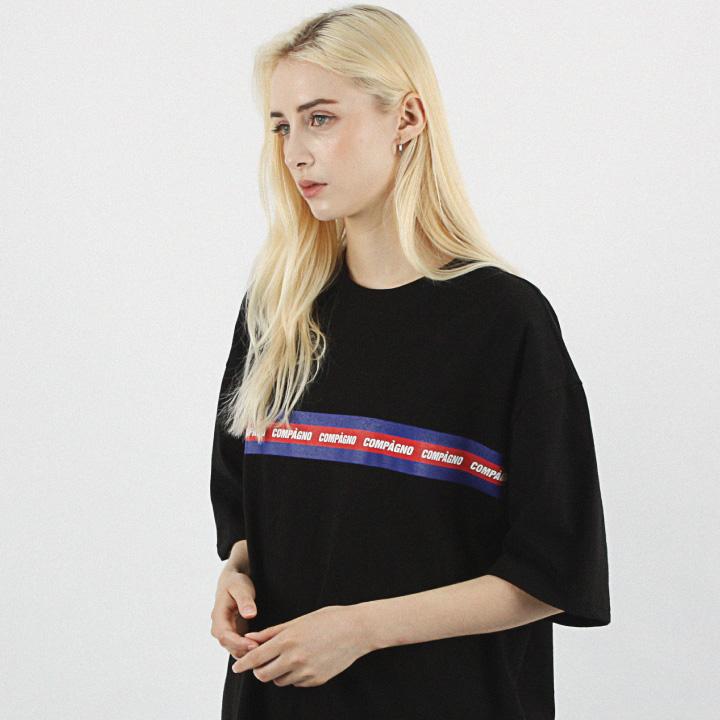 [16수] 헤비 오버핏 와이드 3색라인로고 블랙