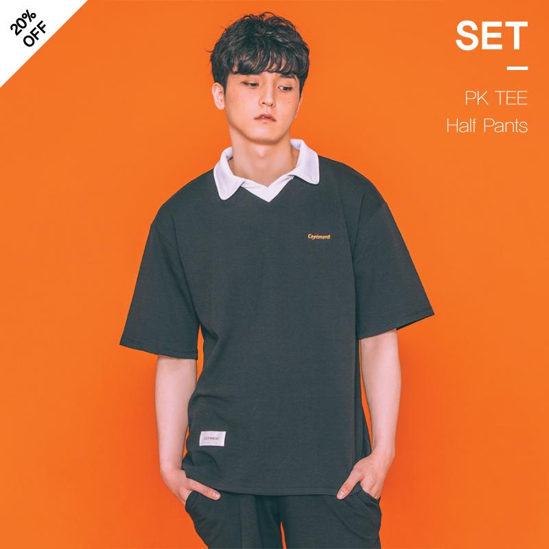 [1+1] [세피먼트]Cepiment PK TEE + Half Pants SET