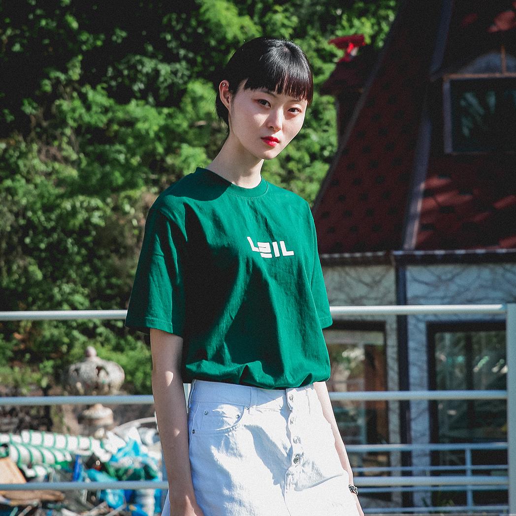 나린어패럴 시그니처 로고 그린 티셔츠
