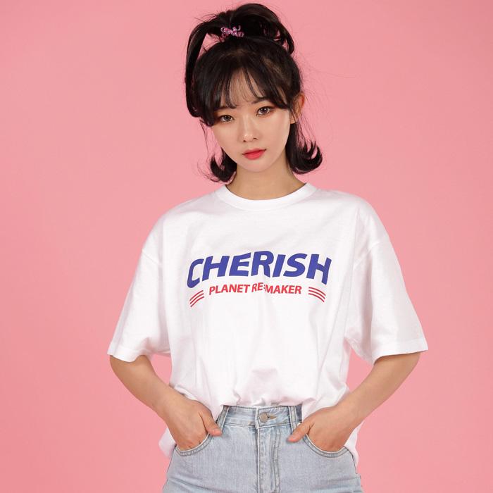 [UNISEX] CHERISH 루즈핏 반팔티 (화이트)
