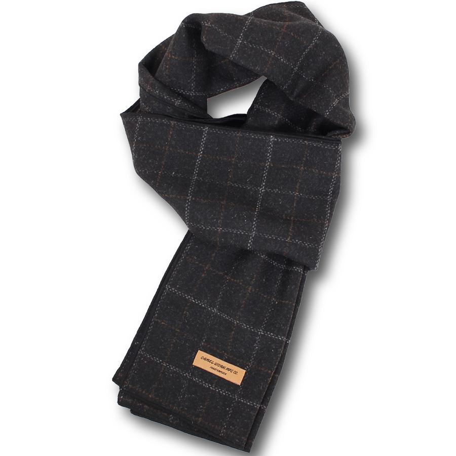 Wool Blend Check Muffler(Charcoal) #01