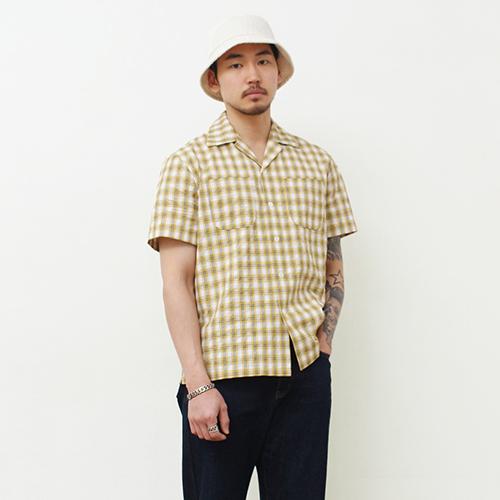 체크오픈카라셔츠-옐로우-