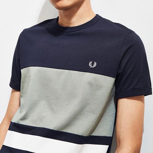[해외]프레드페리 컬러블락 티셔츠 네이비