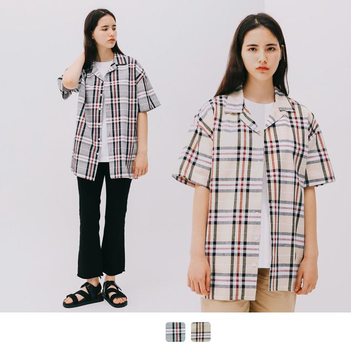 NO.3 체크 반팔 셔츠 (2color)