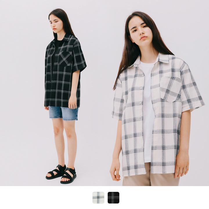 [7/31]NO.8 체크 반팔 셔츠 (2color)