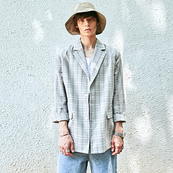 TARTAN CH SINGLE JACKET_GRAY