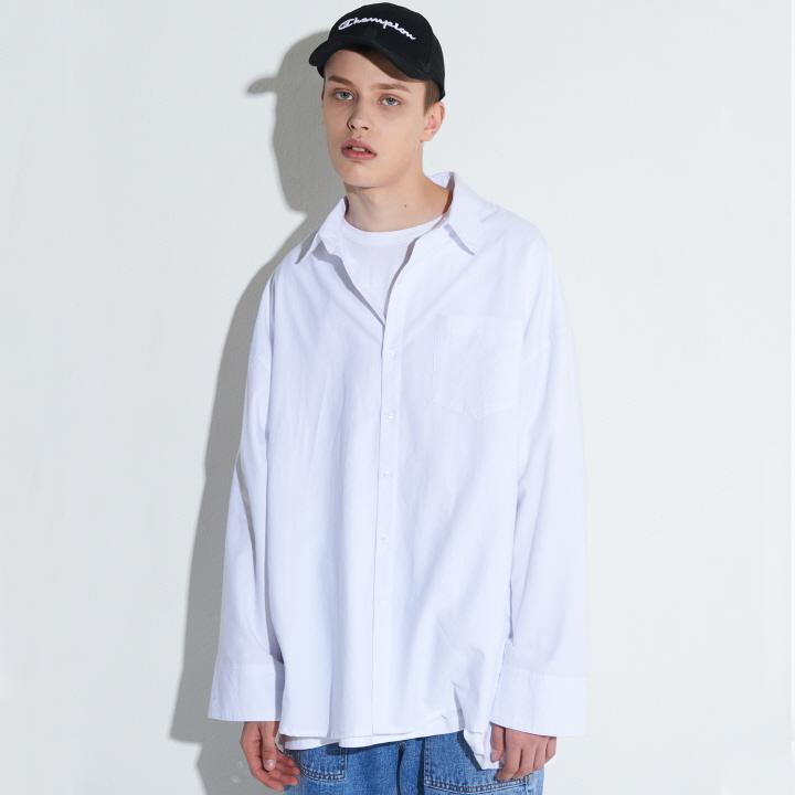 XT7 오버핏 커프스 셔츠(WHITE)