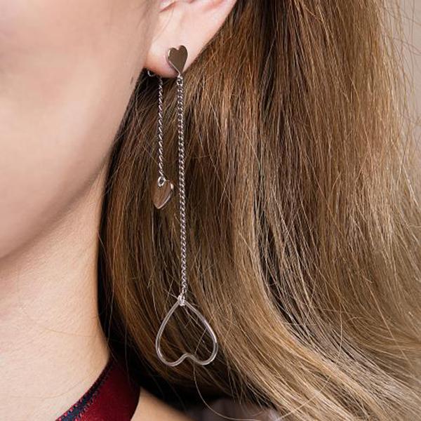 Double heart chain earring