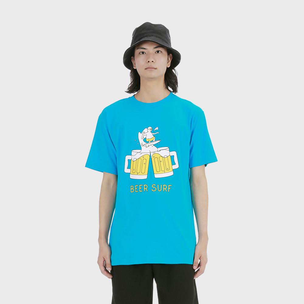 비어 서핑 티셔츠 [타코이즈 블루]