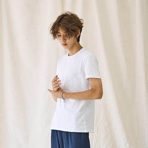 [자토] 히든밴드 (목늘어남방지) 유니섹스 기본 반팔티 - white