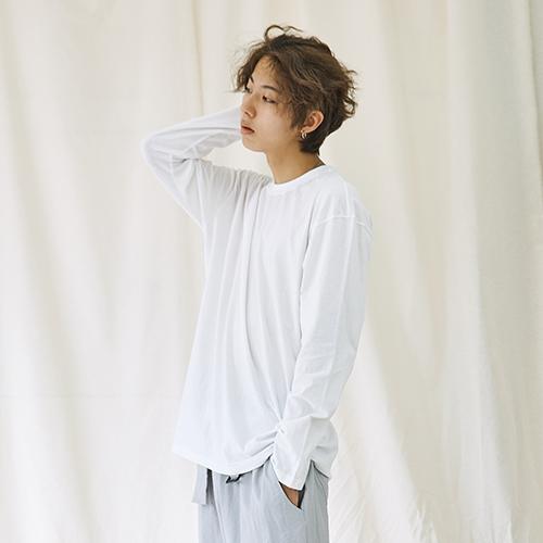 [자토] 히든밴드 (목늘어남방지) 유니섹스 오버핏 긴팔티 - white