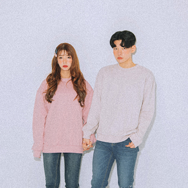 18SS SEMI OVER-FIT Solid Color Basic Sweatshirts