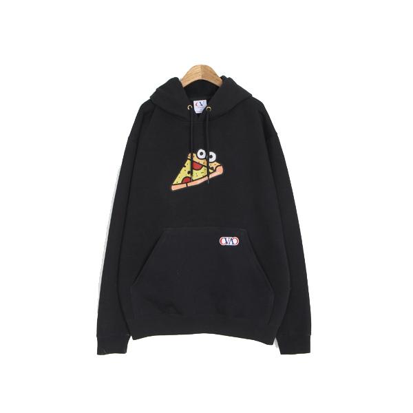 [195]PIZZA CHARACTER HOODIE(BLACK)