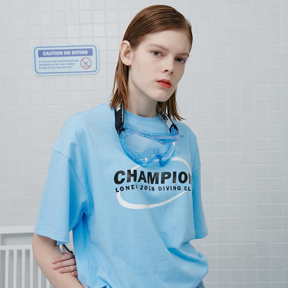 [로너] Circle diver tshirt-light blue